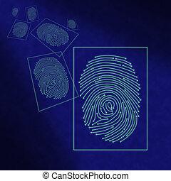 traitement, électronique, numérique, empreinte doigt