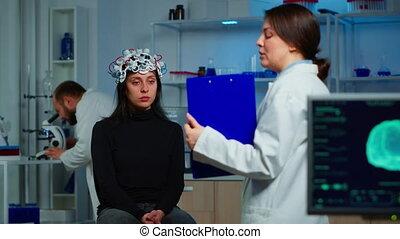 traitement, docteur, patient, presse-papiers avoirs, projection, neuroscience
