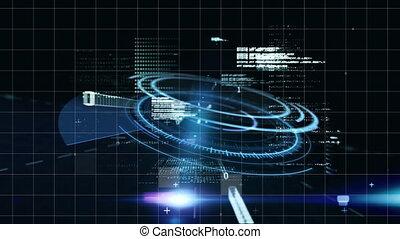 traitement, données, 3d, scanner, numérique, maison, rotation, animation, sur, modèle, rond