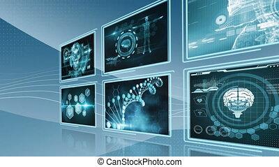 traitement, données, bleu, écrans, fond
