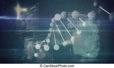 traitement, empreinte doigt, bleu, rotation, données, adn, animation, sur, forcer, fond