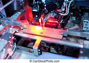 traitement, laser, précision, circuit électronique