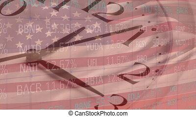 traitement, marché, drapeau, données, coutil, nous, horloge, stockage, contre