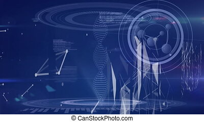 traitement, rotation, données, fond, bleu, brin, adn, animation