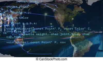 traitement, sur, voyage, données, carte, réseau, animation, connexions, mondiale