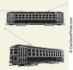 tram, chariot, vieux