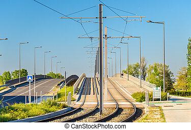 tram ligne, district, bordeaux-lac, france