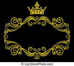 trame couronne, royal, retro