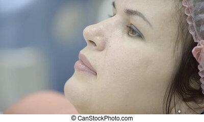 tranquillement, femme, beauty., casquette, attente, stérile, procédure