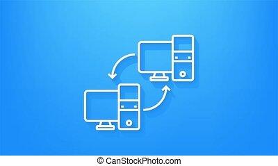 transfert, animation., ligne, graphics., mouvement, icône, réseau, local