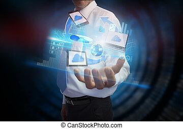 transfert, interface, fichier, présentation, homme affaires
