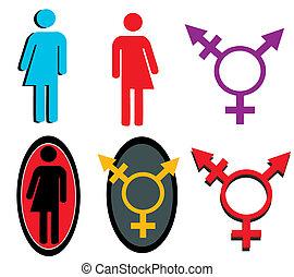 transgender, ensemble, icône