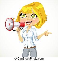 transmettre direction, girl, important, elle, spectacles, conversation, mignon, quelque chose, porte voix
