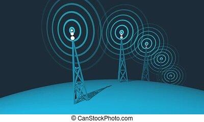 transmettre, global, pylônes, hd, boucle