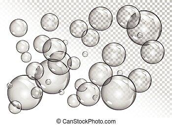 transparent, bulles, fond