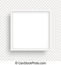 transparent, carrée, isolé, arrière-plan., cadre, blanc