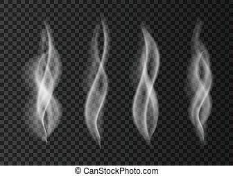 transparent, fumée, isolé, blanc, arrière-plan.