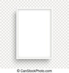 transparent, isolé, arrière-plan., cadre, rectangle, blanc