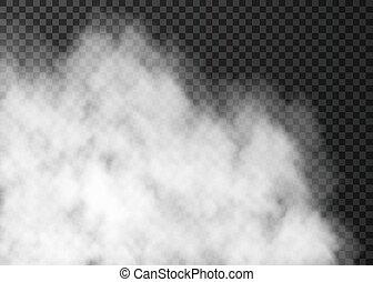 transparent, isolé, sombre, blanc, brouillard, arrière-plan.