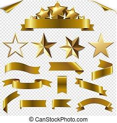 transparent, rubans, étoiles, ensemble, fond, or