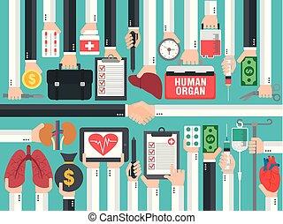 transplatation., conception, monde médical, humain, concept, plat