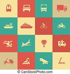 transport, éléments, conception, icônes, retro