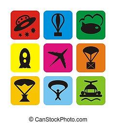transport aérien, icônes