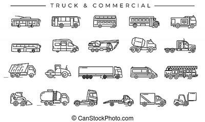 transport, alpha, camion, channel., icônes, ligne, commercial