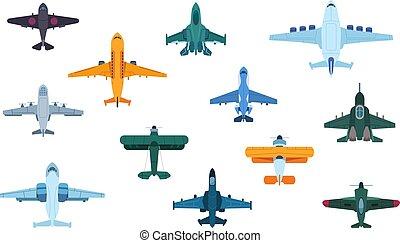 transport, avions, aviation, plat, vue, turbofan, jet, civil, isolé, avion, militaire, avions, airplanes., sommet, aviation., vecteur