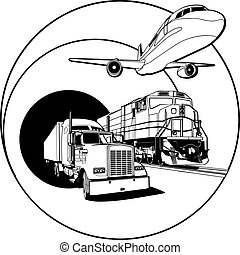 transport, blanc, écusson, noir