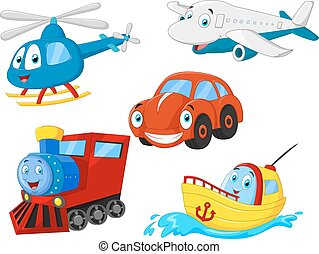 transport, dessin animé, collection