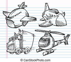 transport, griffonnage, mignon, croquis