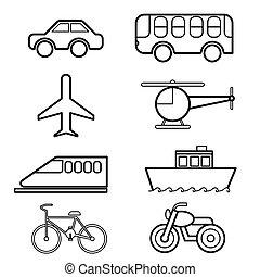 transport, icône, ensemble, vecteur