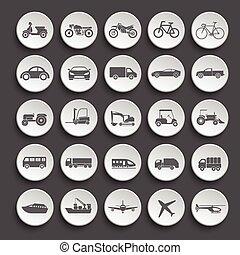 transport, icône, set., vecteur