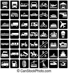 transport, icônes
