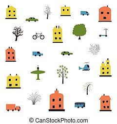 transport., illustration, installed, arbres., s, dessin animé, rigolote, enfants, maisons, ville, style, voitures, simple, vecteur