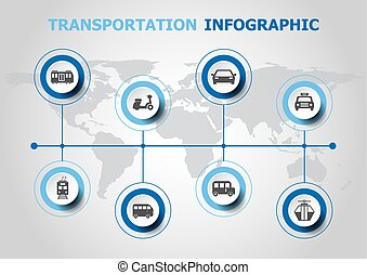 transport, infographic, conception, icônes