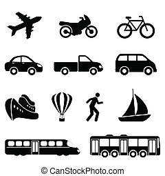transport, noir, icônes