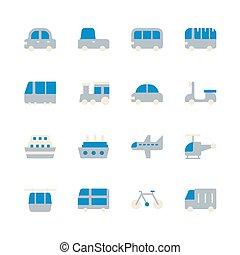 transport, set., illustration, icône, vecteur