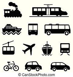 transport terre, icônes, air, mer, public