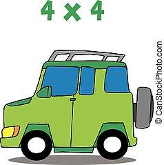 transport, vecteur, art, 4x4, dessin animé