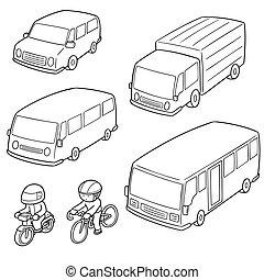 transport, vecteur, ensemble