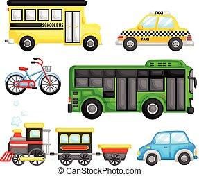transport, vecteur, ensemble, terre