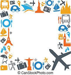 transport, voyager, coloré, icônes