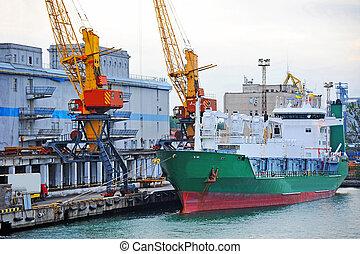 transporteur cargaison, port, réfrigéré