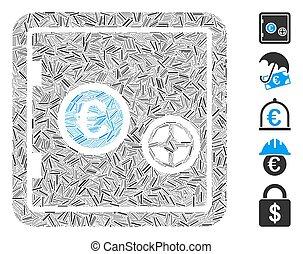 trappe, collage, euro, sûr