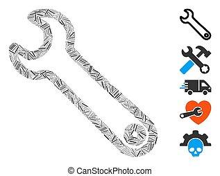 trappe, icône, mosaïque, clé