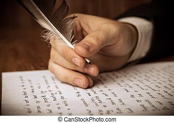 travail, écrit, écrivain, stylo, papier, fontaine