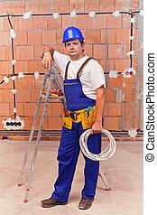 travail, électricien, site