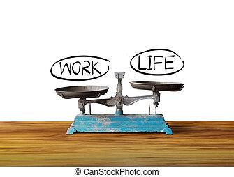 travail, équilibre, vie, concept, échelle